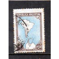Аргентина. Ми-583.Карта Аргентины и аргентинской части Антарктиды.1951.