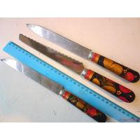 3 ножа с ручками Хохлома и лезвия с знаком качества СССР