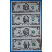 Неразрезанный лист 2$ купюр США.