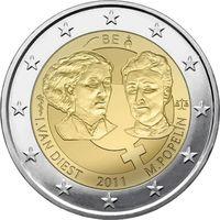 2 евро 2011 Бельгия 100-летие Международного женского дня UNC из ролла