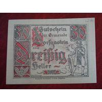 30 геллеров 1920 год Австрия Дорфгастен