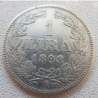 Сан-Марино 1 лира 1898 Серебро РЕДКАЯ