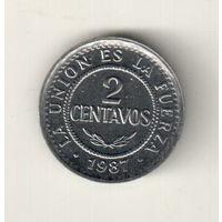 Боливия 2 сентаво 1987