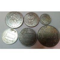 Французская Полинезия 50 сентимо, 1, 2, 5, 10, 20 франков, набор из 6 монет