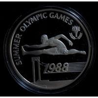 Барбадос 20 долларов 1988. Летние Олимпийские игры 1988. Серебро Пруф Proof.