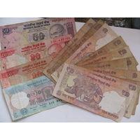 Банкноты Индии, 50, 20, 10 и 5 рупий, цена за все банкноты