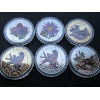 6 монет Канада животные 2013 год цветные новоделы
