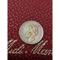 10 центов Нидерланды 1941 года. Серебро (проба 0,640).