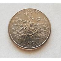 25 центов США 2002 г. штат Миссисипи P