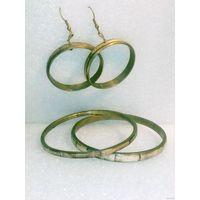 Браслеты и серьги латунь бамбук комплект