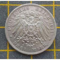 Монета  Германская империя 3 марки 1911 Гамбург