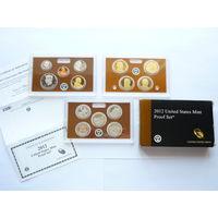 Памятный набор монет США 2012г. (нечастый)! Состояние - PROOF! В 3 футлярах! В упаковке.