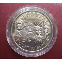 США 1/2 доллара 1991. Мемориал Рашмор. Нечастая.