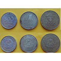 Вьетнам набор 500, 2000, 5000 донг 2003г. последняя эмиссия