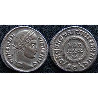 YS: Древний Рим, Константин I, медный фоллис 306-337 н.э., монетный двор Тицина (ST)