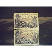 Пара марок Французская колония Мартиника флора