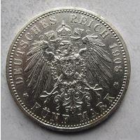Германия, Пруссия, 5 марок, 1908, серебро