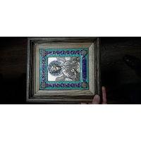 """Икона """"Ангел хранитель"""", серебрение, эмаль, дуб"""
