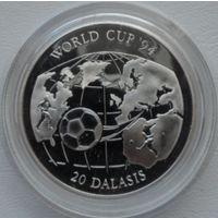 Гамбия 20 даласис 1994 года. Футбол. Серебро 31,47 грамма 925 проба. Пруф! Идеальное состояние!