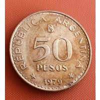 101-02 Аргентина, 50 песо 1979 г. Единственное предложение монеты данного года на АУ
