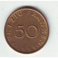Саарленд. 50 франков 1954 г.