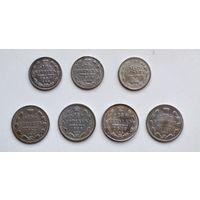 Лот 7 монет Царское серебро.
