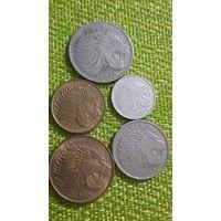 Эфиопия набор 5 монет 1, 5, 10, 25, 50 центов