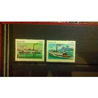 Корабли, флот, транспорт, пароходы, марки, Бразилия, 1985