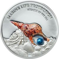 "Палау 5 долларов 2016г. ""Жемчужина: Зеркало моря"". Монета в капсуле; подарочном футляре; сертификат; коробка. СЕРЕБРО 31,135гр.(1 oz)."
