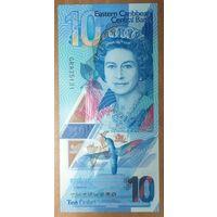 10 долларов 2019 года - Восточные Карибы - UNC - полимер