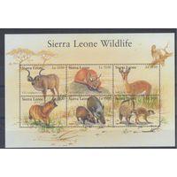 [923] Сьерра-Леоне 2002. Фауна.Дикие животные. МАЛЫЙ ЛИСТ.
