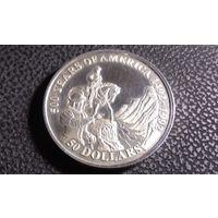 50 долларов 1992 Острова Кука. 500 лет открытию Америки. Открытие Коронадо Большого каньона. Большая! Серебро 0.925.