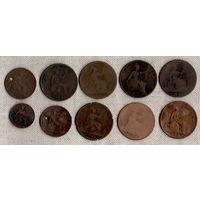 Великобритания 1 фартинг 1/2  1 пенни  /набор из 10 монет/ 1861-1862-1866-1879-1888-1898-1900 / Цена за все монеты /(Va)
