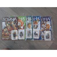 Оловянные фигурки воинов из серии Война 5 шт одним лотом.