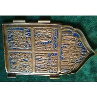 Складень створка икона образок бронза латунь эмаль 15 * 9 см