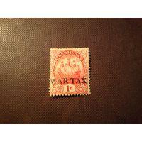 Бермудские острова 1918 г.Герб колонии.Надпечатка военный налог.