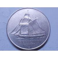 Норвегия  5 крон 1975 г. 150 лет иммиграции в Америку.Корабль.
