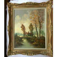 Старинная картина маслом на холсте Позолоченная рамка 66x51 C Рубля!
