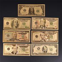 7 золотых купюр, 1, 2,5, 10, 20, 50, 100 долларов США