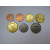 ЛАТВИЯ. Набор из 7 монет 1992 года. Оригинал.