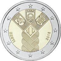 2 евро Эстония 2018  100 лет государствам Балтики UNC из ролла
