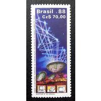 Бразилия 1988 г. Космос. Коммуникации, полная серия из 1 марки. Чистая #0045-Ч1