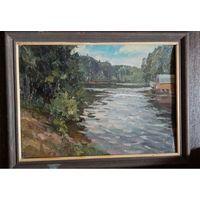 "Картина Леонарда Шиленкова: ""на клязьменском водохранилище"". 1997г. Распродажа!!! цену снизил"