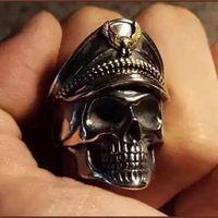"""Кольцо перстень """"Череп в фуражке"""" (18 размер)"""
