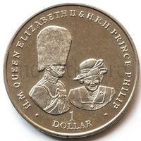 Британские Виргинские Острова 1 доллар 2017 года. 70 лет вместе. Елизавета II и Филипп