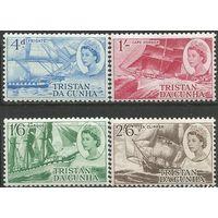 Тристан да Кунья. Королева Елизавета II. Британские парусники 19в. 1969г. Mi#124-27. Серия.
