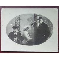 Фото двух мужчин и женщины. г. Майкоп. До 1917 г. 9х11,5 см