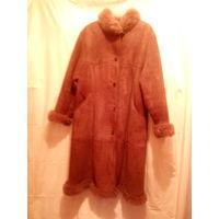 Женская дубленка,коричневая,финская,воротник стойка,100% натуральная овчина.Made in Finland.54-56 размер.
