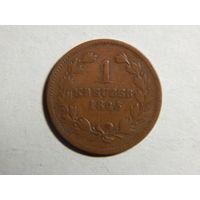Баден 1 крейцер 1845г