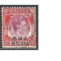 Малайя(Британская военная администрация). Король ГеоргVI. Пальмы. 1945г. Mi10.